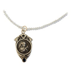 Sapphire Virgin Mary Medal Coin Pendant White Pearl Labradorite Chain Necklace