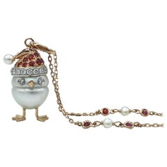 Sapphire White Diamond 18kt Gold Pearl Christmas Chick Charm Pendant/Necklace