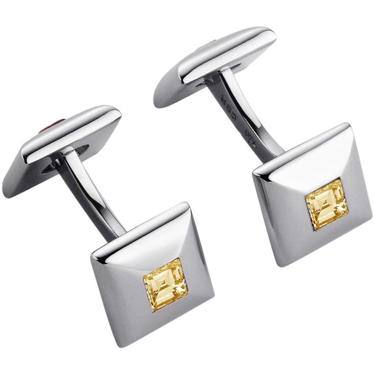 Sapphire White Gold Cufflinks