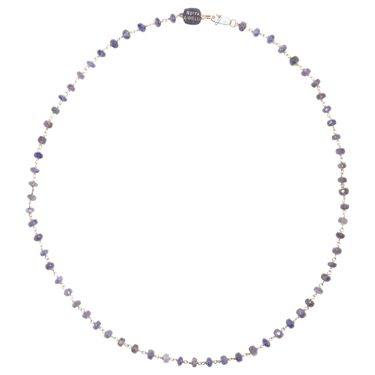 Sapphire White Gold Necklace Handcrafted in Italy by Botta Gioielli For Sale