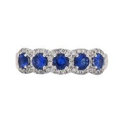 14KW Sapphire with Diamond Halo Ring
