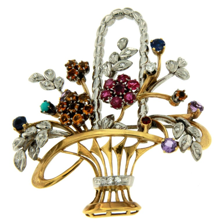 Sapphire, Diamond, Ruby, Turquoise, Citrine Bouquet Gold Brooch