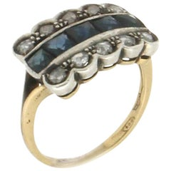 Sapphires, 18 Karat Yellow Gold and Silver, Rose Cut Diamonds, Cocktail Ring