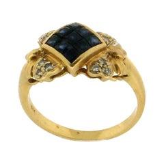 Sapphires 18 Karat Yellow Gold, Diamonds Cocktail Ring