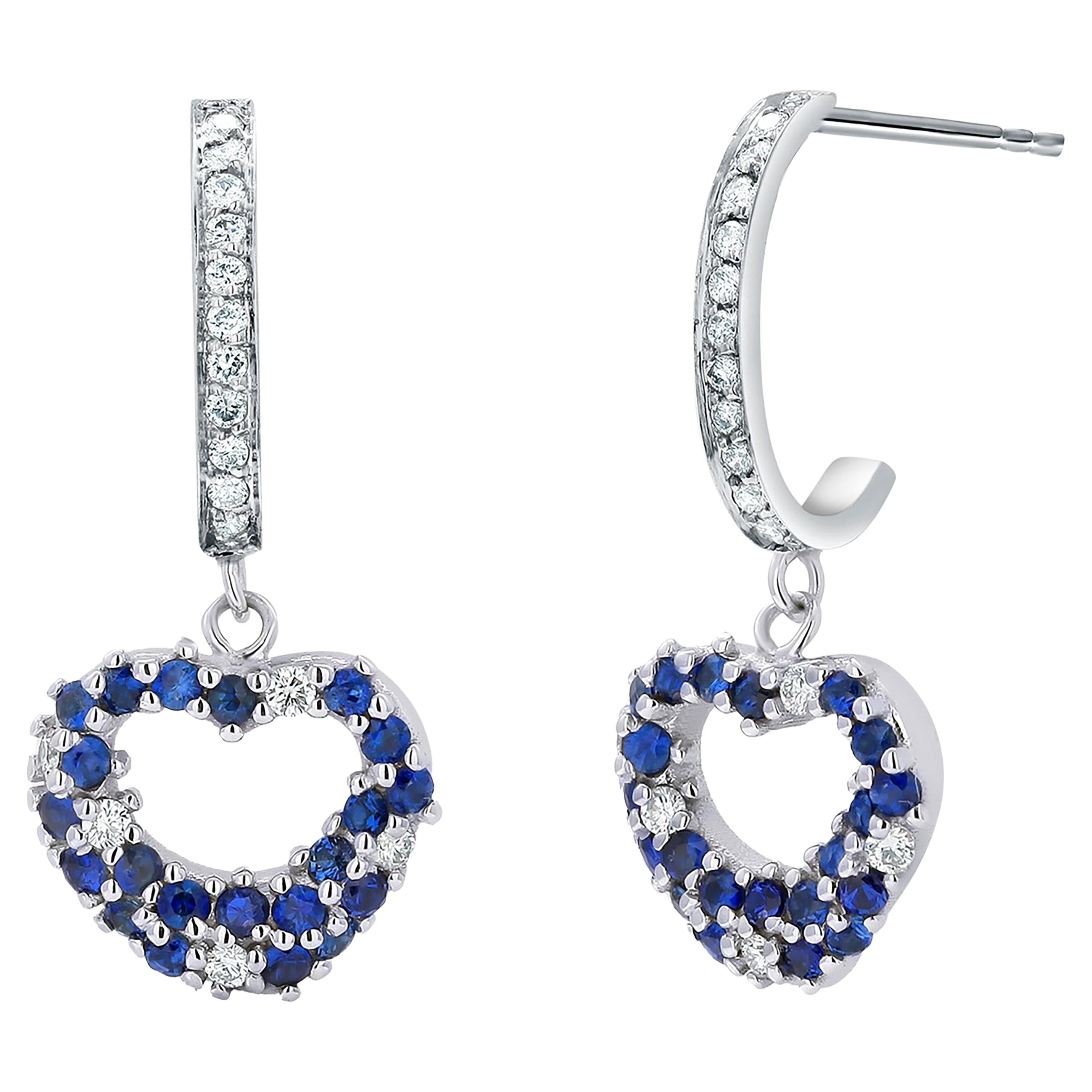 Sapphires and Diamond Heart Shaped White Gold Diamond Hoop Earrings