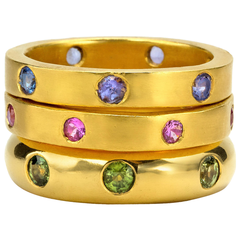 Sapphires and Tanzanite yellow gold 22 Karat Gold Rings