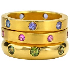 Sapphires and Tanzanite yellow gold 22 Karat Gold Rings