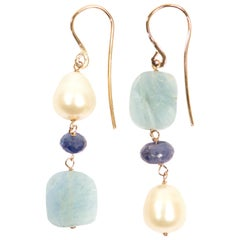 Sapphires Aquamarines Freshwater Pearls Rose Gold Earrings Handcrafted in Italy