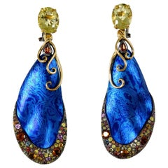 Sapphires Beryl 18 Karat Gold Sterling Silver Timascus Earrings One of a Kind