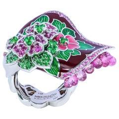 Sapphires Briolettes Tsavorites Enamel 18 Karat White Gold A'la Russe Big Ring