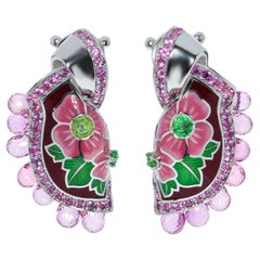 Sapphires Briolettes Tsavorites Enamel 18 Karat White Gold A'la Russe Earrings