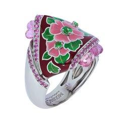 Sapphires Briolettes Tsavorites Enamel 18 Karat White Gold A'la Russe Small Ring