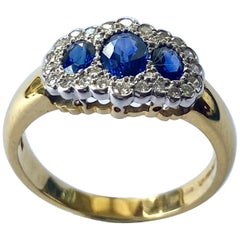 Sapphires- Diamond Ring, Traditional Model, London, 1990