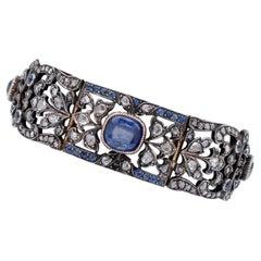 Sapphires, Diamonds, 12 Karat Yellow Gold and Silver Retrò Bracelet