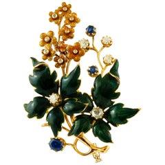 Sapphires, Diamonds, 14 Karat Yellow Gold and Enamel