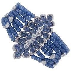 Sapphires, Diamonds, 18 Karat White Gold Bracelet