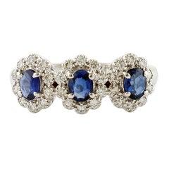 Sapphires, Diamonds, 18 Karat White Gold Ring