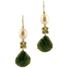 Sapphires, Diamonds, Pearls, Peridots 14 Karat Rose Gold Dangle Earrings
