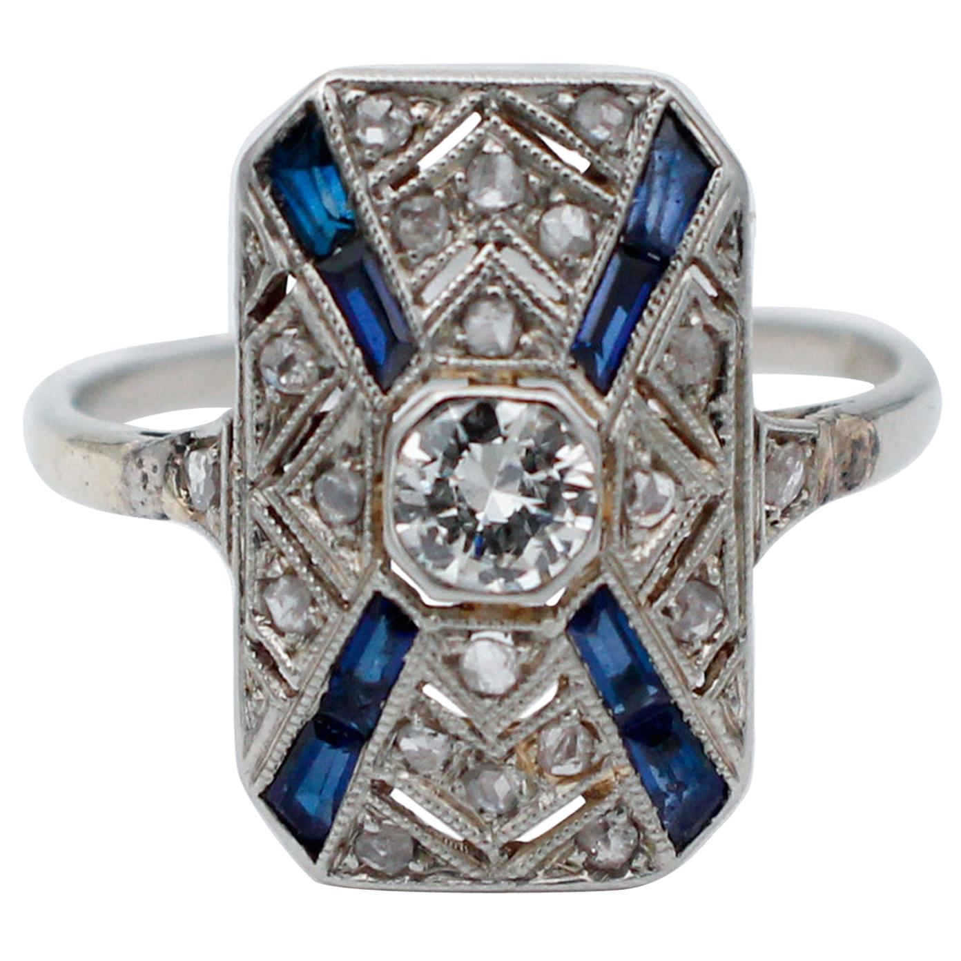 Sapphires, Diamonds, Platinum Ring
