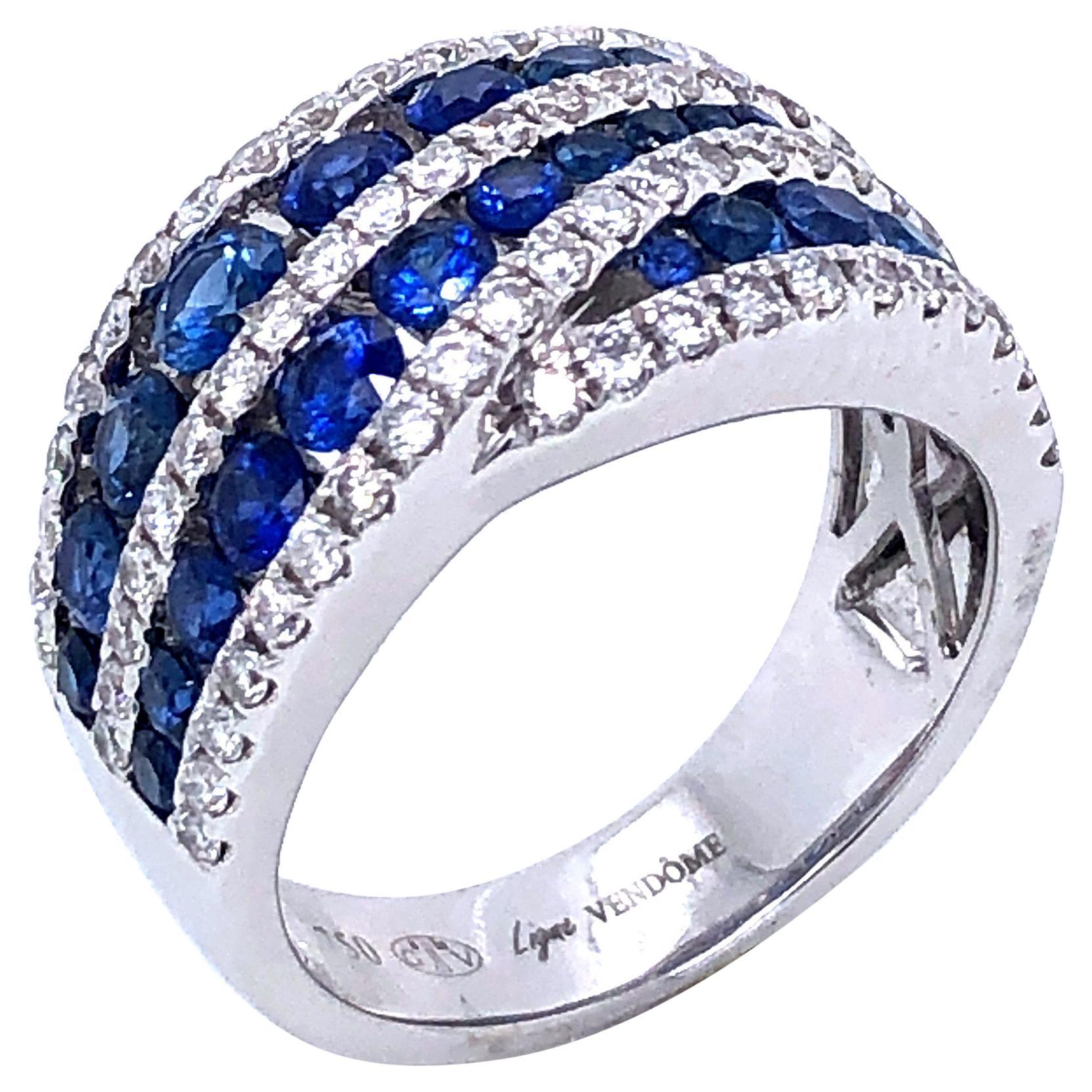 Sapphires Diamonds White Gold 18K Cocktail Ring