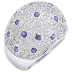 Sapphires Diamonds White Gold Ring