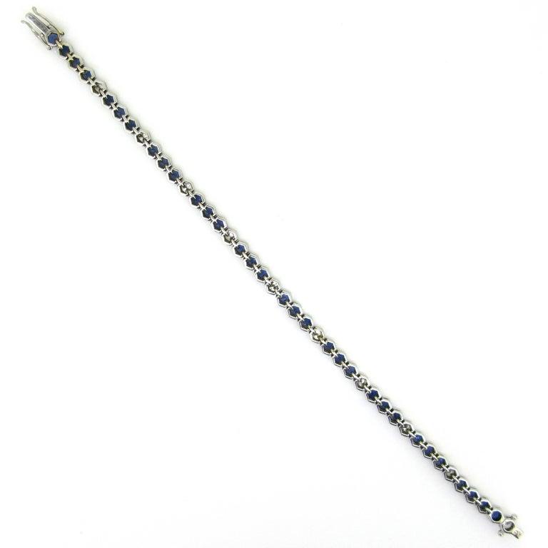 Round Cut Sapphires Diamonds White Gold Tennis Bracelet For Sale
