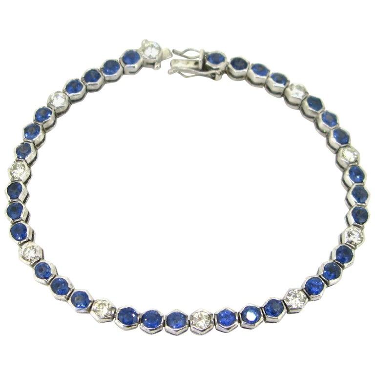 Sapphires Diamonds White Gold Tennis Bracelet For Sale