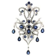Sapphires Drops 18 Karat White Gold Diamonds Pendant Necklace