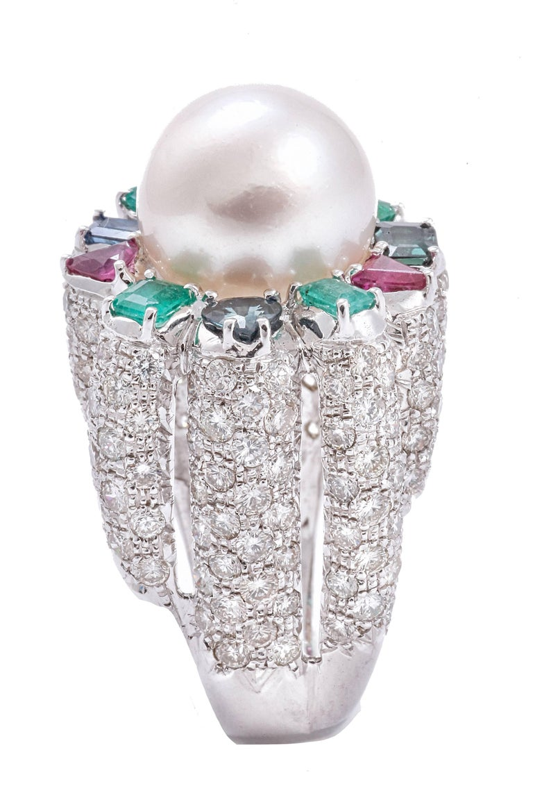 Retro Sapphires Emeralds Rubies Diamonds Pearl White Gold Ring For Sale