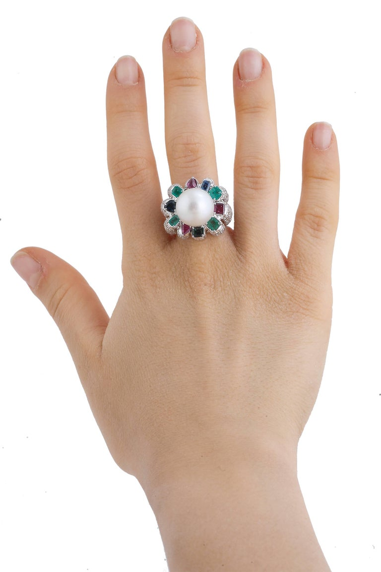 Women's Sapphires Emeralds Rubies Diamonds Pearl White Gold Ring For Sale