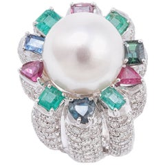Sapphires Emeralds Rubies Diamonds Pearl White Gold Ring