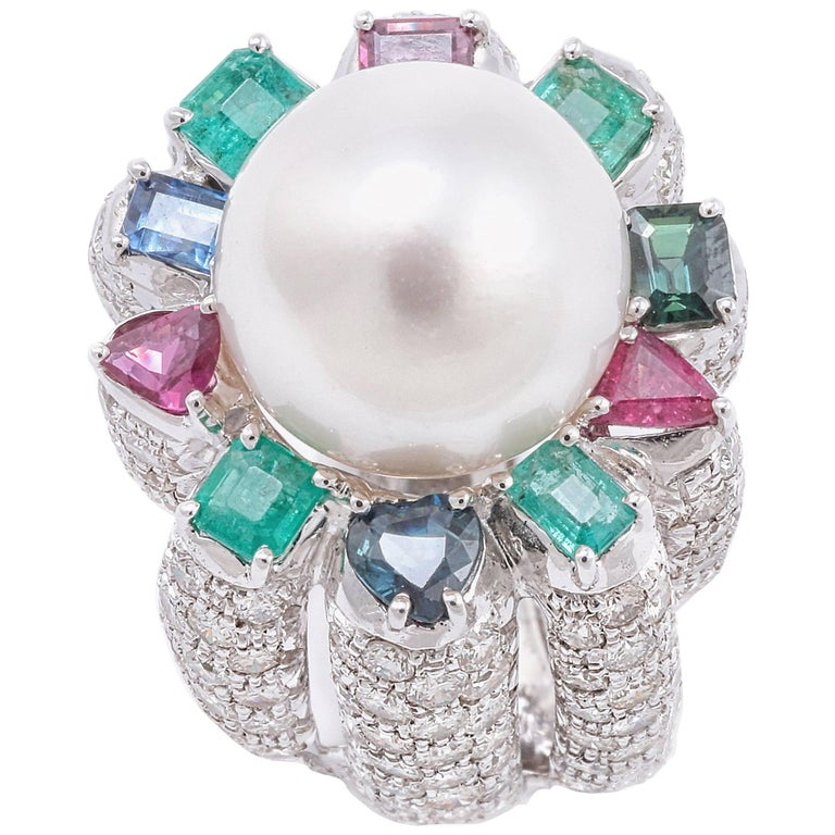 Sapphires Emeralds Rubies Diamonds Pearl White Gold Ring For Sale