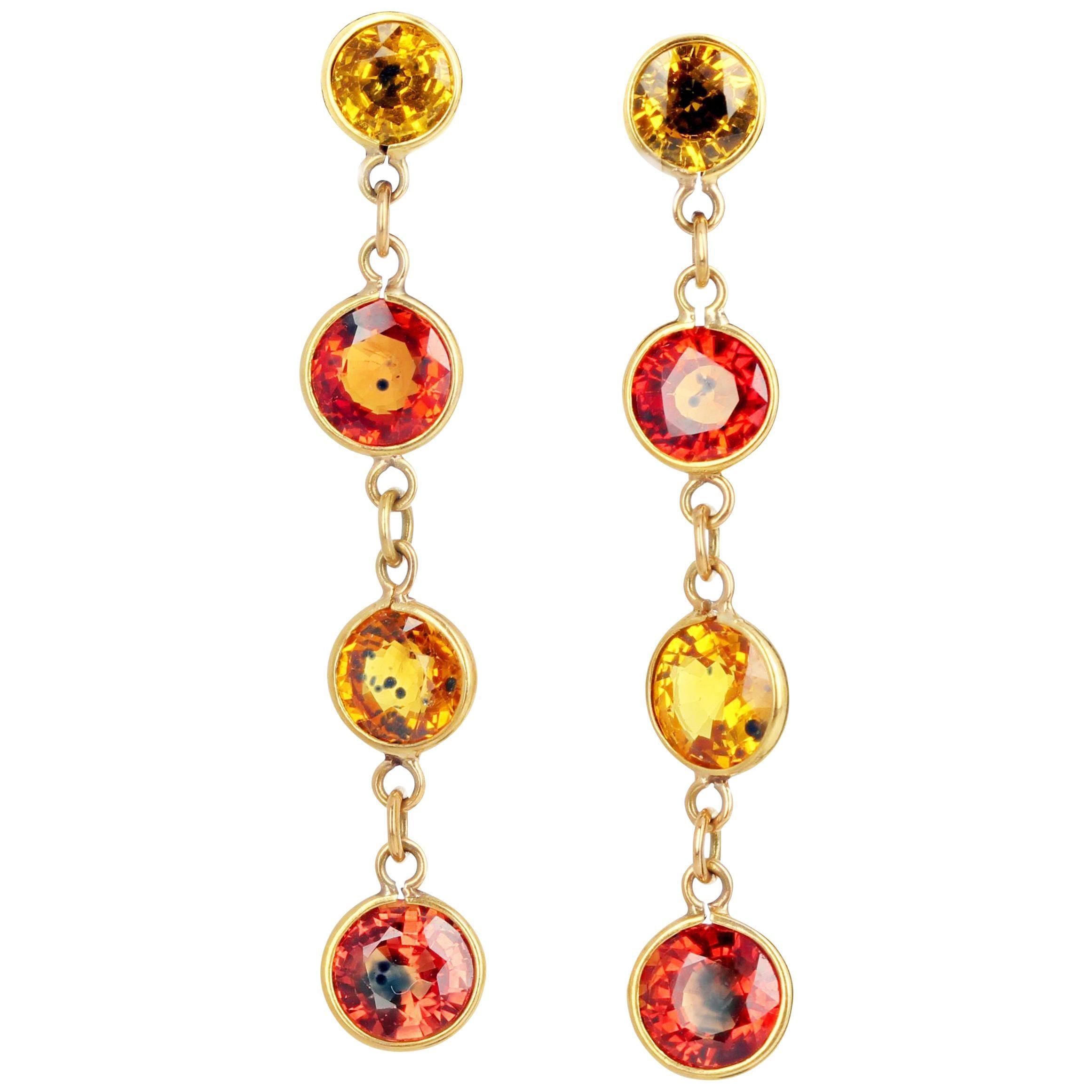 Gemjunky Songea Sapphires Dazzle in Dangling 18Kt Gold Stud Earrings