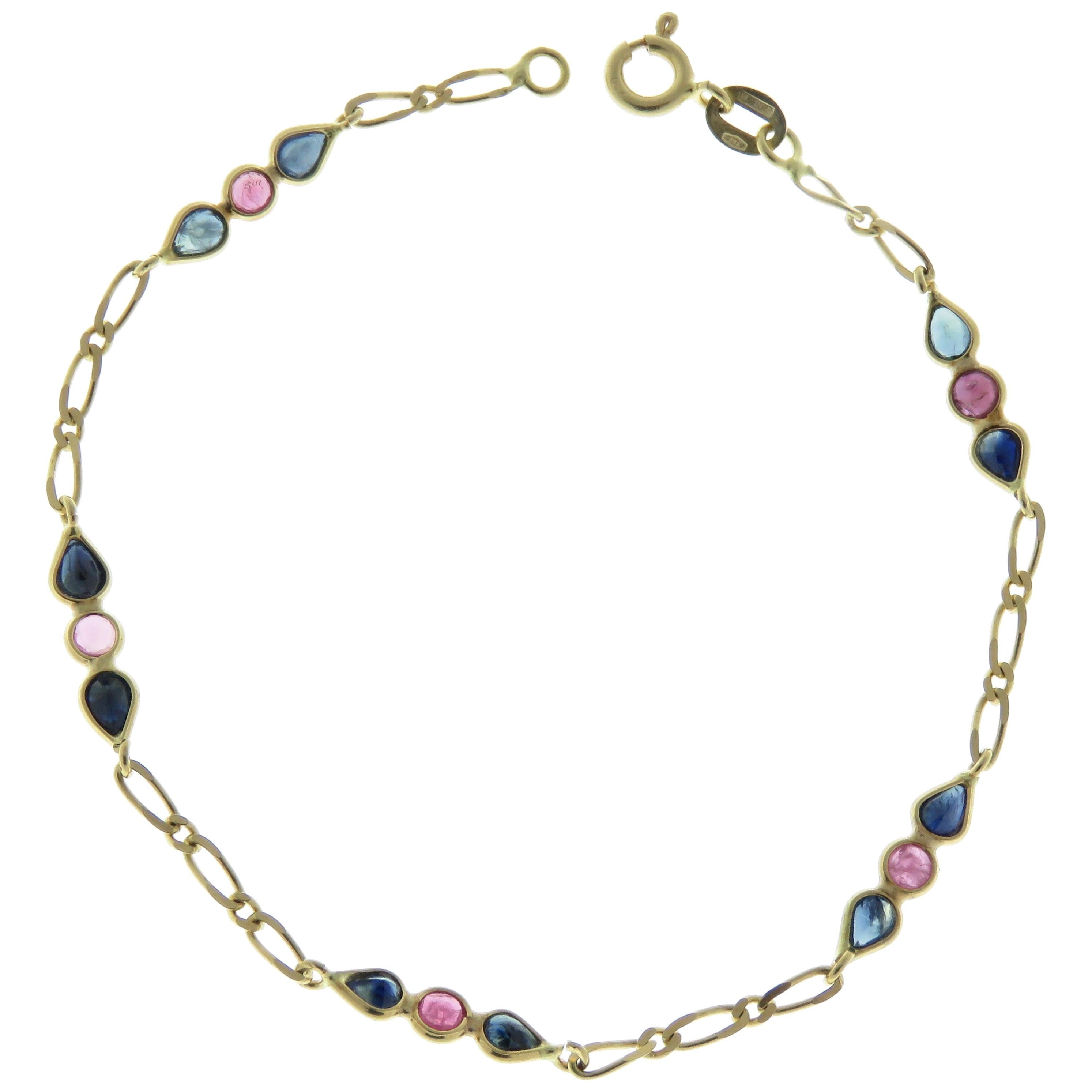 Sapphires Rubies 18 Karat Yellow Gold Bracelet Handcrafted in Italy