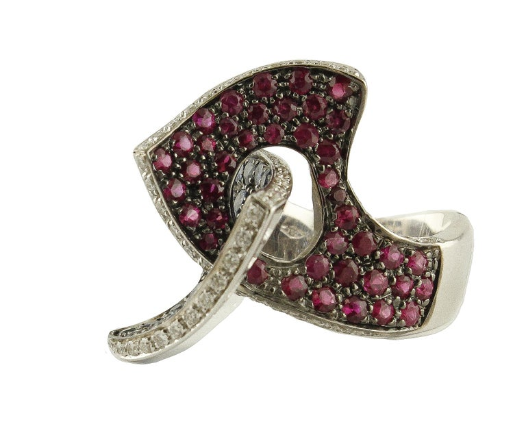 Retro Sapphires Rubyes Diamonds White Gold Ring For Sale