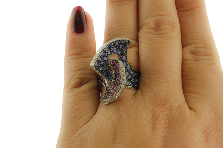 Women's Sapphires Rubyes Diamonds White Gold Ring For Sale