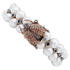 Sapphires, Emeralds, Diamonds, Pearls, 9Kt Rose Gold and Silver Bracelet