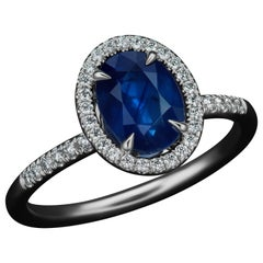 JAG New York Sapphire and Diamond Platinum Ring