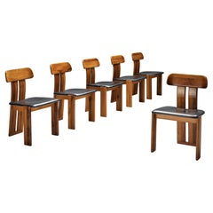 Sapporo Set of Six Dining Chairs in Walnut and Black Leather