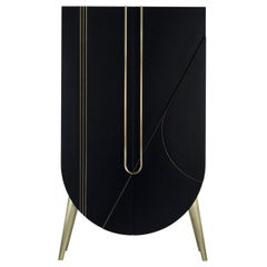 21st Century Saqris Cabinet Wood Black Lacquered Brushed Brass