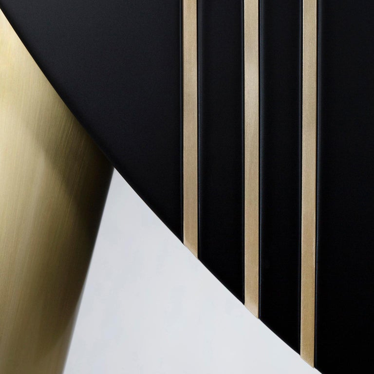 Portuguese Saqris Cabinet Wood Black Lacquered Brushed Brass For Sale