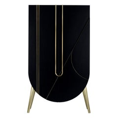 Saqris Cabinet Wood Black Lacquered Brushed Brass