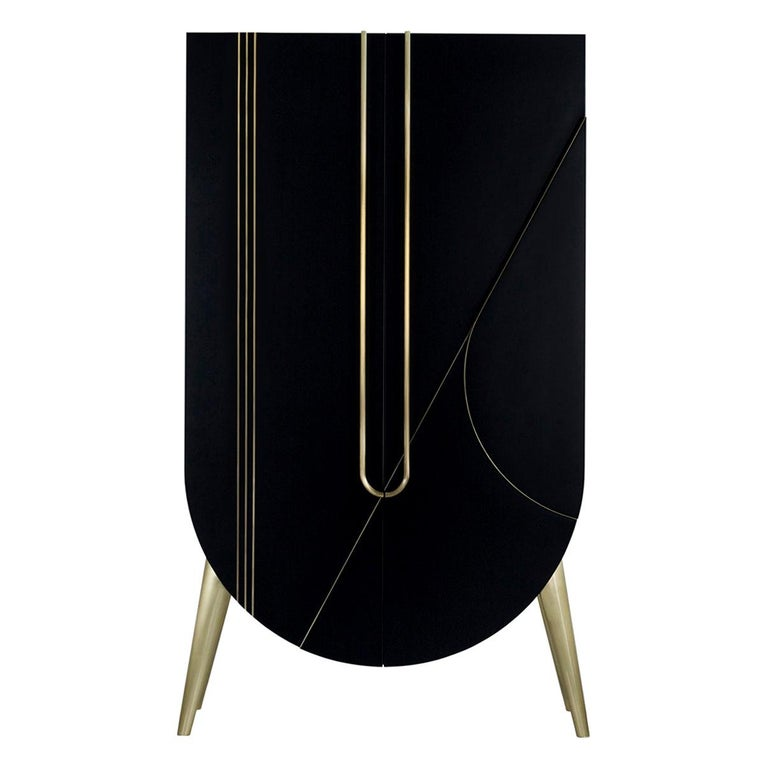 Saqris Cabinet Wood Black Lacquered Brushed Brass For Sale
