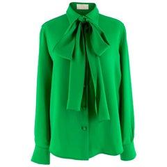 Sara Battaglia Green Pussy-bow Crepe Blouse IT 38