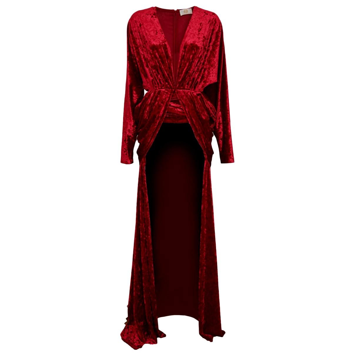 Sara Battaglia Red Velvet High Low Dress
