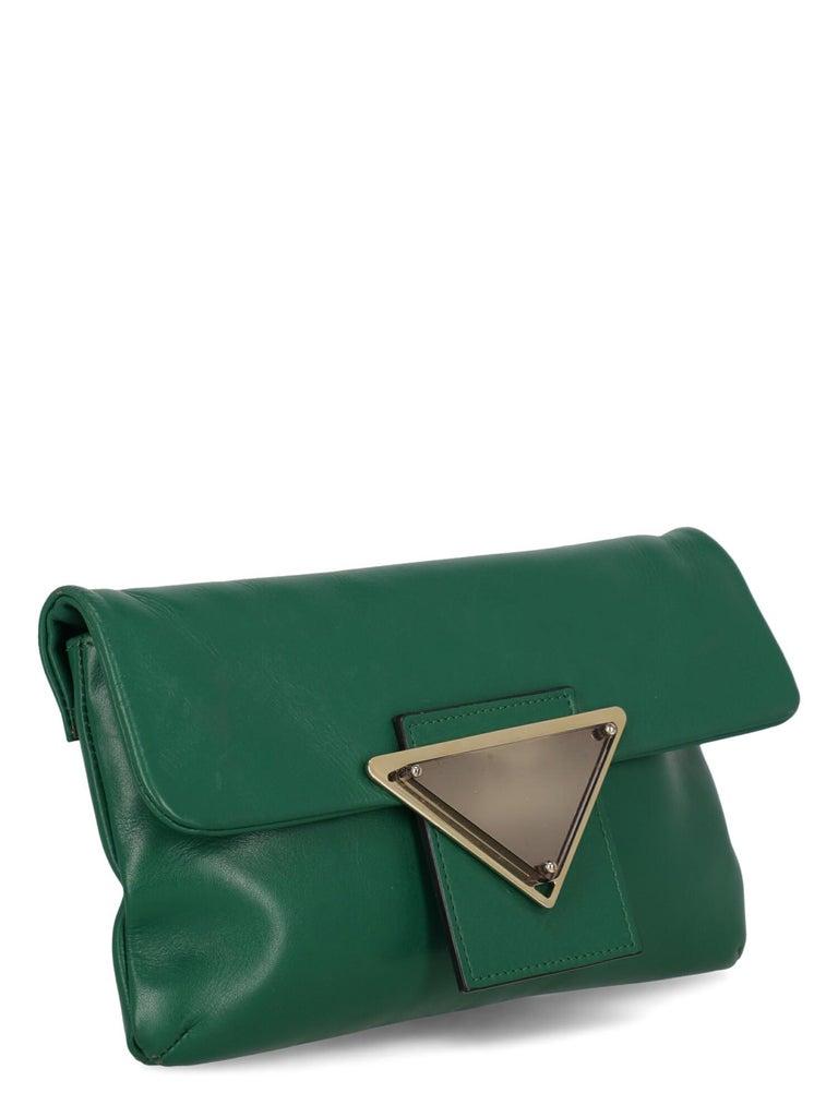 Sara Battaglia Woman Shoulder bag  Green Leather In Fair Condition In Milan, IT