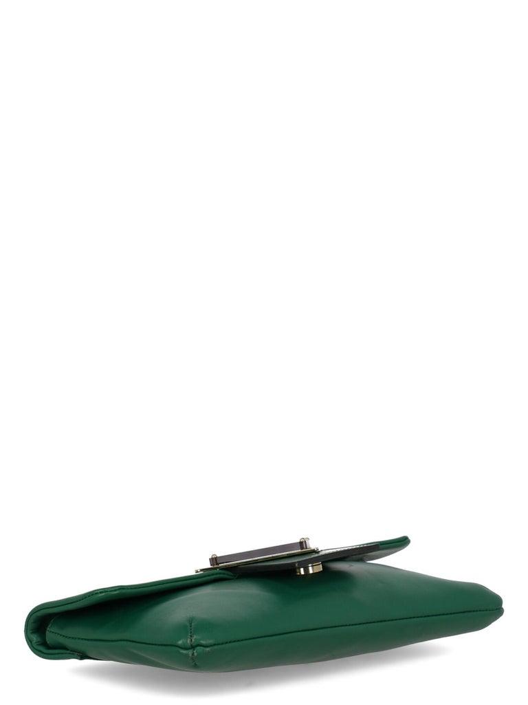 Sara Battaglia Woman Shoulder bag  Green Leather 1