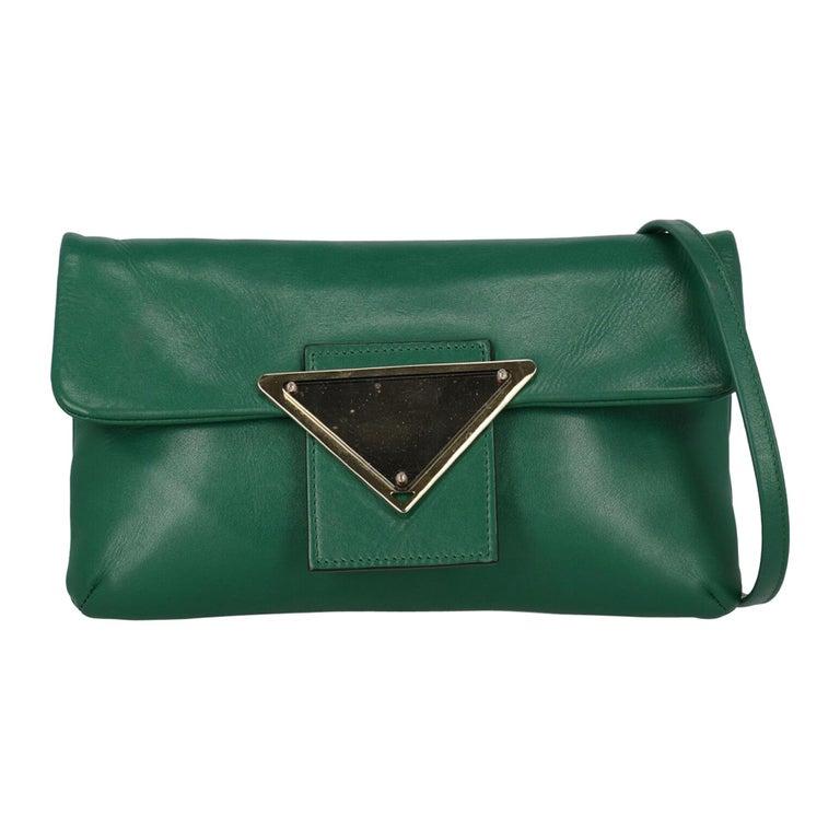 Sara Battaglia Woman Shoulder bag  Green Leather