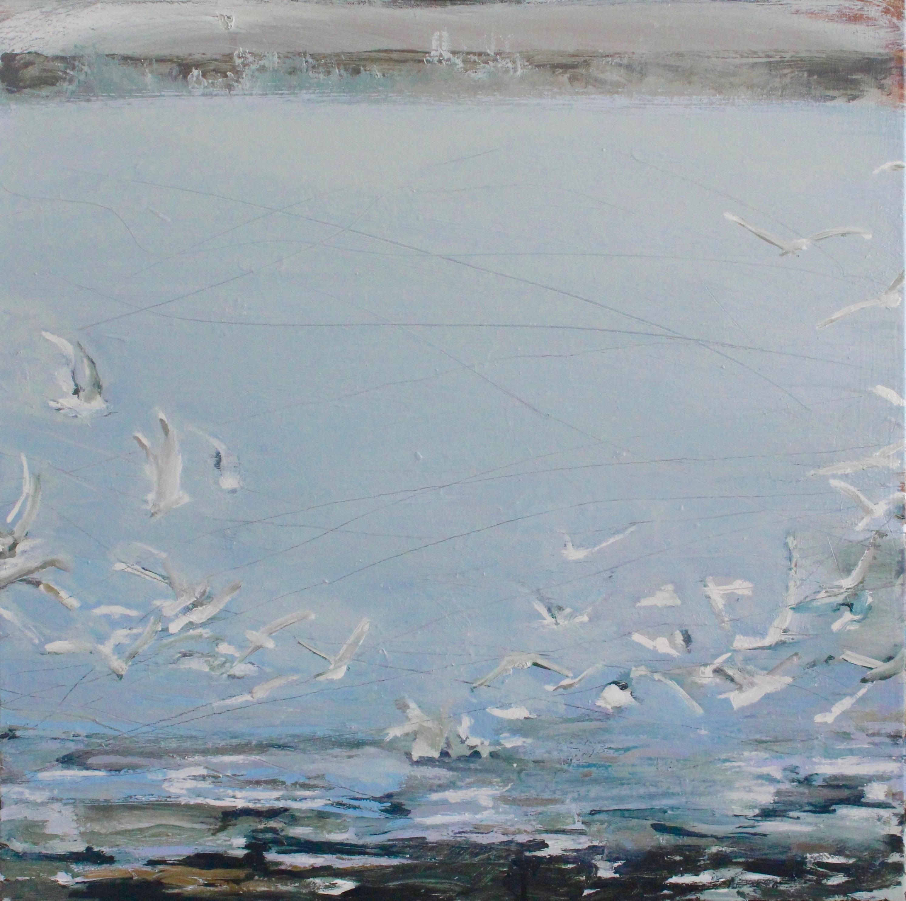 Incoming Tide: Oil Painting by Royal West Academician of Estuary and Gulls