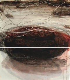 Kittiwakes (Fallen Rock, Cowbar 2): Diptych Painting by Sara Dudman RWA